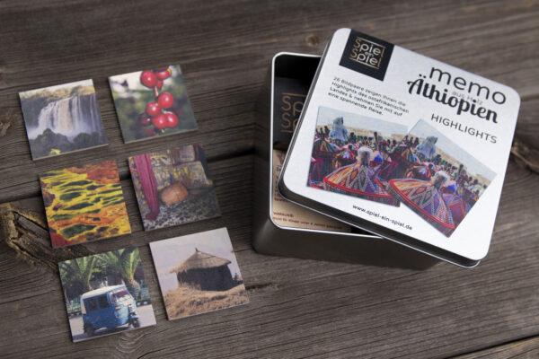 Verpackung vom Memo-Spiel aus Holz mit Motiven aus allen Regionen von Äthiopien. Memo-Spielen exklusiv!