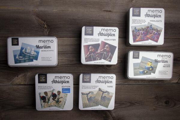Es gibt vier Spiele mit äthiopischen Motiven zwei Spiele mit maritimen Motiven und eines mit Bildern aus Nürnberg; weitere Spiele sind in Vorbereitung.