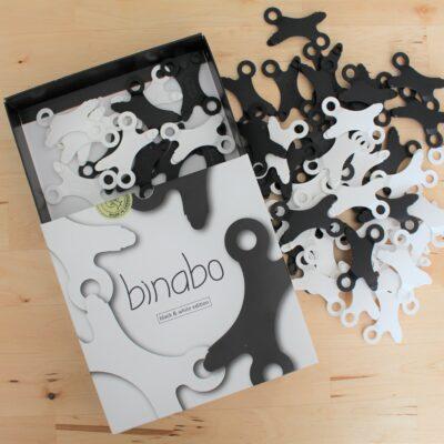 Binabo ist wie Lego – nur anders. Testen Sie die Kreativität in 60 schwarzen und weißen Teilen.