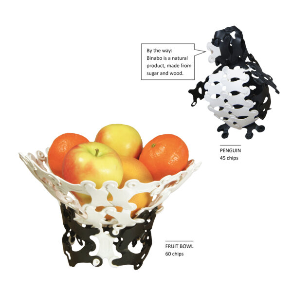 Hier sind Beispiele für die Vielfältigkeit, was alles aus Binabo Black and White entstehen kann – das geht natürlich auch mit den farbigen Binabos..