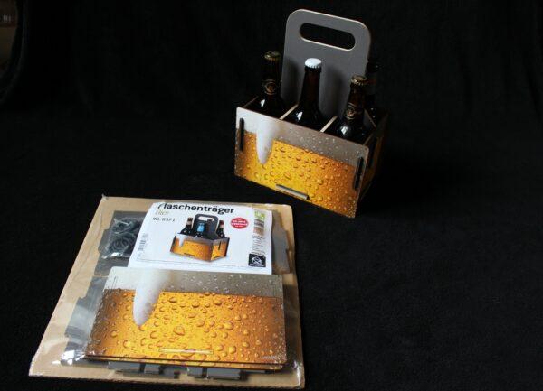 """Schon die Verpackung des Motivs """"Bier"""" macht durstig! Und der Zusammenbau geht in wenigen Minuten."""