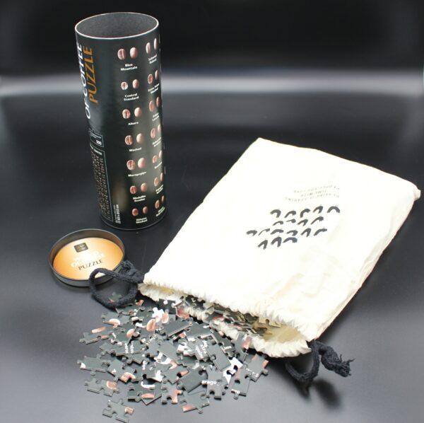 Eine Dose – ein Stoffbeutel - Ein Puzzle – 80 Kaffeesorten – 500 Teile – optisch sehr ansprechend