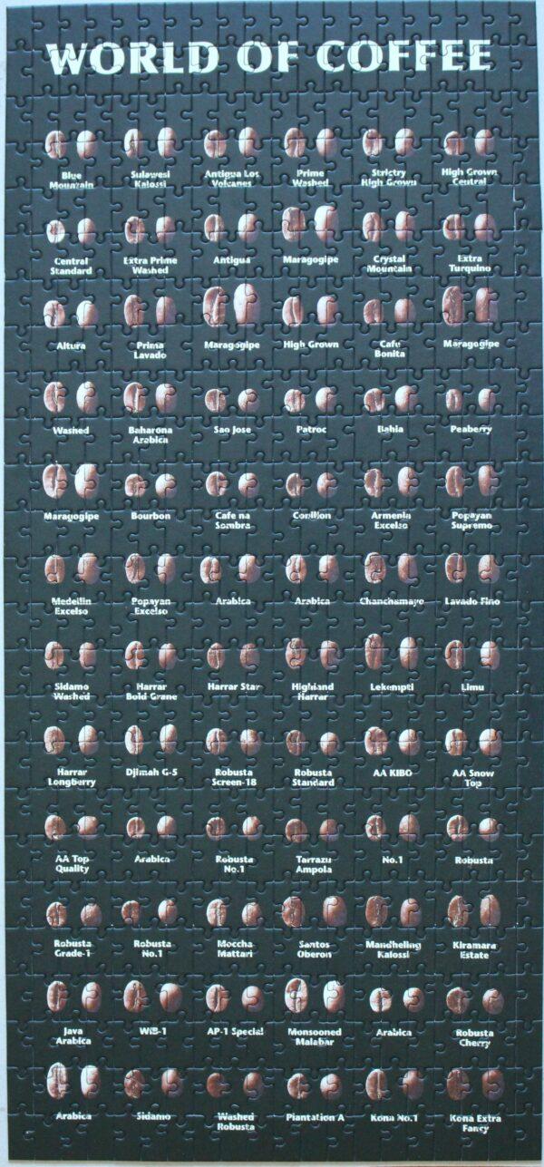 Dieses Londji-Puzzle zeigt die Kaffeebohnen der Welt – 27,5 Zentimeter mal 60 Zentimeter. Das macht auch optisch etwas her!
