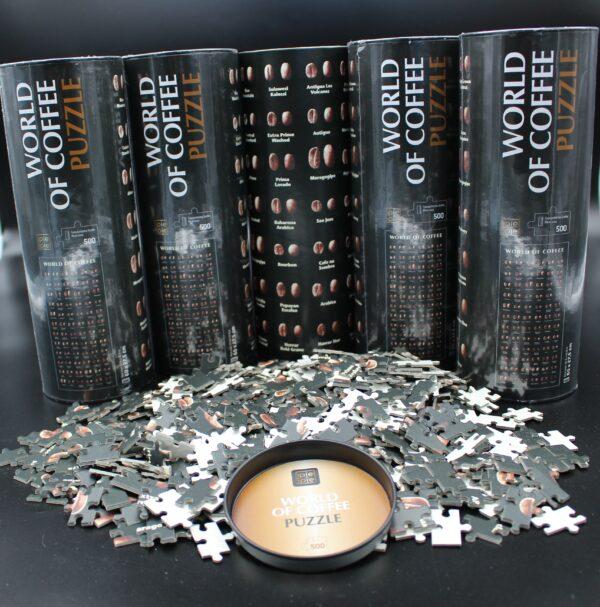 Ein Blick auf die Verpackung – die 500 Puzzleteile werden in einer wertigen Recycling - Pappdose mit Metalldeckel gekauft.